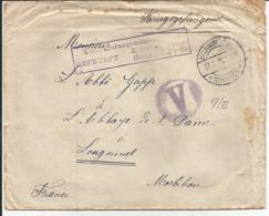 Env D Un Prisonnier Allemand Pour LANGONNET (morbihan) 27/5/1915 - Postmark Collection (Covers)