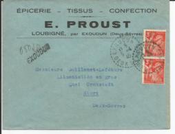 Env REC PROVISOIRE Cad EXOUDUN (deux Sevres) 6/4/1945 TB - 1921-1960: Modern Tijdperk