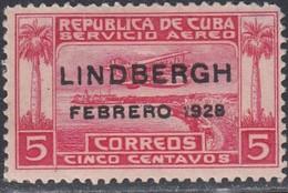 Cuba, Scott #C2, Mint Hinged, Seaplane Over Havana Harbor Overprinted, Issued 1928 - Airmail