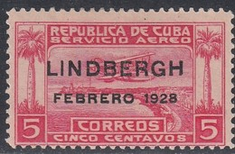 Cuba, Scott #C2, Mint Hinged, Seaplane Over Havana Harbor Overprinted, Issued 1928 - Luchtpost