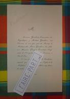 FAIRE-PART MARIAGE 1865 COURTAUT # GENDRON Vendôme Loir-et-Cher Bar-le-Duc Meuse * - Mariage