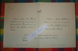 FAIRE-PART MARIAGE 1890 GUILBAUD # RENARD Blois Vendôme Challans Vendée * - Mariage
