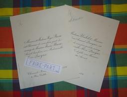 FAIRE-PART MARIAGE 1891 BASSE # QUEYROI WATELET Auvergne Clermont-Fd Moulins * - Mariage