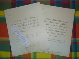 FAIRE-PART MARIAGE 1891 HUBERT # RABOUIN BERGER Bonneval Eure-et-Loir Vendôme * - Mariage