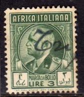 AFRICA ITALIANA MARCA DA BOLLO REVENUE LIRE 3 USATO USED OBLITERE' - Africa Orientale