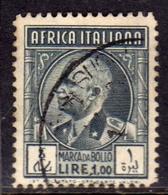 AFRICA ITALIANA MARCA DA BOLLO REVENUE LIRE 1 LIRA USATO USED OBLITERE' - Eastern Africa