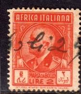AFRICA ITALIANA MARCA DA BOLLO REVENUE LIRE 2 USATO USED OBLITERE' - Eastern Africa