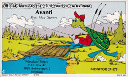 """QSL COLLECTOR CARD TORTUGA QSL CLUB CLUBCARD TQCC # 82  """" AVANTI """" ANTWERP  - BELGIUM - Carte QSL"""
