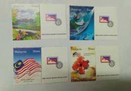 Malaysia 2007 30 Sen Personalised Stamps Setemku Philately Mnh Set 4v Business Earth Rural Scene National Flag Hibiscus - Malaysia (1964-...)