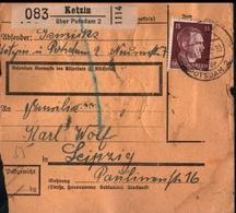 ! 1943 Paketkarte Deutsches Reich, Ketzin über Potsdam Nach Leipzig,  Zusammendrucke - Covers & Documents