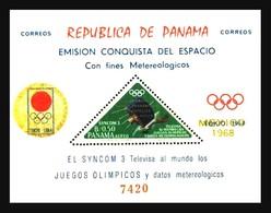 Panama: 'Olympia – Satellite Syncom-3 In Space – Gold Overprinted, 1968', Mi. BL 94; Sc. 489Ab ** - Espacio