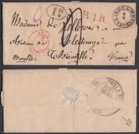 """BELGIQUE LETTRE DE """"HABAY-LA-NEUVE """"CACHET TYPE 18 04/05/1841 VERS THIONVILLE """"B.1.R.""""  (DD) DC-6930 - 1830-1849 (Belgio Indipendente)"""