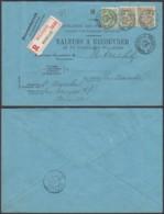 """BELGIQUE COB 56+59 X2 SUR LETTRE REC """"VALEURS A RECOUVRER """"DE BRUXELLES 03/04/1905 VERS HOLLANDE(DD) DC-6937 - 1893-1900 Thin Beard"""