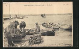 CPA Perros-Guirec, Le Port, Pêcheur Bei Der Arbeit - Perros-Guirec
