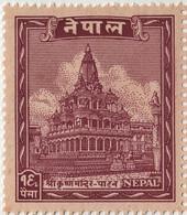 Lord KRISHNA Temple 16-PAISA Stamp NEPAL 1949 MINT/MNH - Hinduism