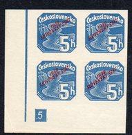 SLOVAKIA, 1939  5h BLUE IMPERF CNR BLOCK 4 MNH - Slovakia
