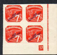 SLOVAKIA, 1939  7h RED IMPERF CNR BLOCK 4 MNH - Ungebraucht