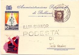 BELLUNO LETTERA  ARRIVI E PARTENZE  FRANCOBOLLI PER LA TUBERCOLOSI 1935  ASSISTENZA ILEGITTIMI   (FEB201072) - Malattie