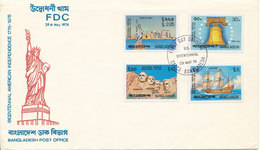 Bangladesh FDC 29-5-1976 Bicentennial American Independence 1776 1976 Complete Set Of 4 With Cachet - Bangladesh