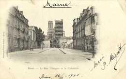 Reims La Rue Libergier Et La Cathedrale  RV  Beau Timbre 5c Cachet REIMS VESLE  MARNE - Reims