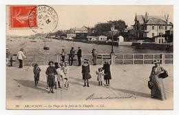 CPA Arcachon La Plage Et La Jetée De La Chapelle 1910 - Arcachon