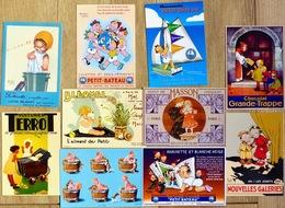 Lot N°1(bis) De 10 CPM Publicitaires: Enfants, Illustrateurs (Béatrice Mallet, Steinlen, Paulin, Mich, E.Grasset, Erbil) - Publicité