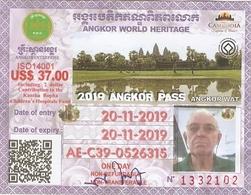 TICKET ENTREE BILLET  CAMBODGE PASS ANGKOR WORLD HERITAGE CAMBODIA - Tickets D'entrée