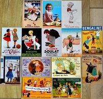 Lot N°3 De 14 CPM Publicitaires: Enfants, Illustrateurs (Ogé, Vincent, Redon ,Auzolle, Erbil, Grasset, Bouisset, Bickel) - Publicité