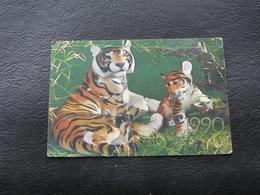USSR Soviet Russia Pocket Calendar A Pair Of Tigers Tiger Cub 1990 - Calendars