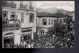 REF 465 : CPA Grece Greece Hellas Salonique Manifestation Sur La Place De L'olympe Désormais Place De La Liberté - Greece