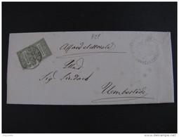"""827 ITALIA Regno-1866- """"De La Rue"""" C. 1 T 14 CAMERINO>UMBERTIDE (descrizione) - Storia Postale"""