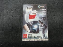 Ukraine Pocket Calendar Cigarettes West Advertising 1998 - Calendars