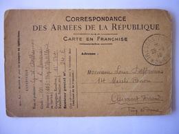 Armée Française / Carte De Franchise / Correspondace Des Armées De La République - Oorlog 1914-18