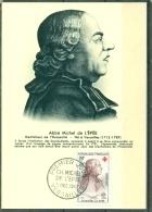 CM-Carte Maximum Card # France-1959#Célébrités #Croix Rouge-Red Cross # Abbé Michel De L´Épée (Sourds-Muets), Vers - 1950-59