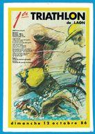 AUTOCOLLANT 1er TRIATHLON DE LAON DIMANCHE 12 OCTOBRE 86 - Pegatinas