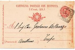 1899 AMBULANTE TONDO RIQUADRATO BRINDISI -FOGGIA DA BARI - Storia Postale