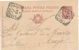 1894 AMBULANTE TONDO RIQUADRATO LECCE-FOGGIA  DA BARLETTA - 1878-00 Humbert I