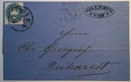 ROMANIA INCOMING MAIL: Wien 1867 10 Kr 1863-64 XF Cover>BUKAREST Austrian P.O (Austria Österreich Brief Rumänien - 1858-1880 Moldavie & Principauté