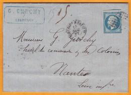 1862 - 20 C Napoléon III Bleu Empire ND Sur Lettre Pliée Avec Corresp 2 Pages De Libourne Vers Nantes - Convoyeur - Postmark Collection (Covers)
