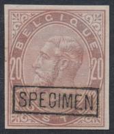 Essai - épreuve Des Planches (émission 1883, Essai De Couleur) Sur Papier Blanc : 20ctm Violet + SPECIMEN  (NL) - Proofs & Reprints