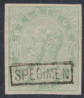 Essai - épreuve Des Planches (émission 1883, Essai De Couleur) Sur Papier Blanc : 20ctm Réséda + SPECIMEN  (NL) - Proofs & Reprints