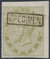Essai - épreuve Des Planches (émission 1883, Essai De Couleur) Sur Papier Blanc : 20ctm Vert Jaune + SPECIMEN  (NL) - Essais & Réimpressions
