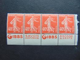 Superbe Bande De 4 Du N°. 194 Avec Pub Gibbs (pubs Différentes) - Publicités
