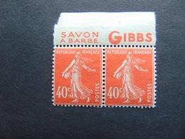 Superbe Paire Du N°. 194 Avec Pub Gibbs (pubs Différentes) - Publicités