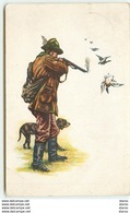 Chasseur Tirant Sur Un Canard  Avec Son Chien - Caza