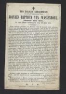 DOODSPRENTJE * JOANNES VAN WASSENHOVE * PASTOOR VAN ELST * + 1876 * LITHO PARIS L. TURGES * - Images Religieuses