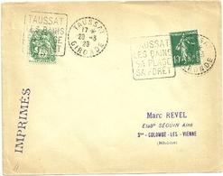 GIRONDE - Dépt N° 33 = TAUSSAT 1929 Cercle Pointillé = FLAMME DAGUIN ' BAINS / PLAGE / FORET' - Marcophilie (Lettres)