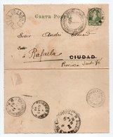 - CARTA POSTAL ASSOCIATION PATRIE (Anciens Militaires Français), BUENOS AIRES Pour RAFAELA (Argentine) 12.1.1893 - - Entiers Postaux