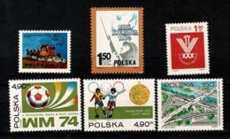 Polska 1974 Yv. 2148**, 2149**, 2150**, 2155/56**, 2164**,  Mi 2308, 2312**, 2313**, 2315/16**, 2327** MNH - 1944-.... République