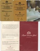 3 Cartes Clé Avec Pochette : Royal Windsor Hotel Grand' Palace : Bruxelles Belgique - Cartes D'hotel